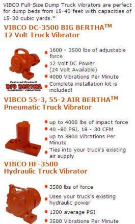 Dump bed vibrator